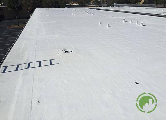 Mod-Bit Torchdown after Cool Roofing application